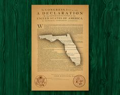 Florida map on Declaration on Independence Independence Day Poster, Declaration Of Independence, States In America, Unique Gifts, Handmade Gifts, Etsy, Florida, Map, Kid Craft Gifts