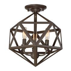 Quoizel Liberty Park 13.125-in W Bronze Metal Semi-Flush Mount Light  $99.00  Item # 760145 Model # LWS3293B Lowes