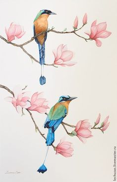 Resultado de imagen de watercolor birds and flowers