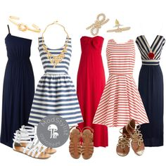 """""""Nautical Bridal Party"""" by modcloth on Polyvore.-Don't know about bridal party, but these are cute dresses!"""