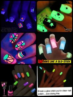 Glow in the dark nail polish.. Also you can break a glo stick and add to clear nail polish. Rave