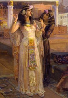 """tiny-librarian: """"Detail of Cleopatra and her handmaiden, from the painting """"Cleopatra on the Terraces of Philae"""" by Frederic Arthur Bridgman . Cleopatra Story, Queen Cleopatra, Women In History, Ancient History, Art History, History Photos, European History, American History, Baroque Painting"""