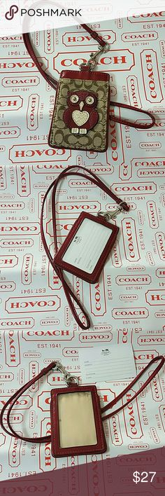 "Coach Owl Lanyard ID Badge Card Case Wallet Holder Used Coach Owl lanyard with Multi colors Condition: Used with tiny scratches on the ID screen window and staining on the interior (not noticable when card inside) Coach Style F61121 Silve-tone Color: Khaki, red, multi colors 1 slip pocket & 1 clear ID screen CARD SIZE: 2 3/4"" x 3 3/4""  STRAP SIZE: 17"" long (including clip length) (fits an ID card & still room for cash/credit cards) Coach Gift Box is included.  Will ship within 24 hours…"