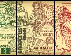 VENUS- Fare Thee Well : Backstage pass poster sketches for the Grateful Dead - Large Posters - Edit Listing - Etsy