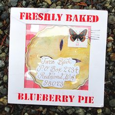 Bakery Pie envelope by Kelly Synnott for The Elevated Envelope mail art exchange.