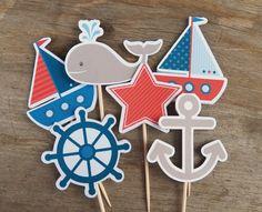 Fiesta náutica    Los primeros cupcake personalizado impresión en calidad fotográfica en cartulina pesada. Cada adorno de Magdalena es