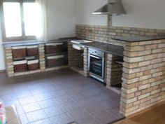 NLCafé - A női oldalam! Kitchen Room Design, Diy Kitchen, Kitchen Decor, Brick Shelves, Open Kitchen Cabinets, Boho Glam Home, Living Place, Concrete Kitchen, Wood Pallet Furniture