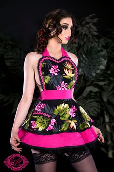 Tiki Pinup Orchid Darling Apron  Made to Order by dotsdiner, $66.00