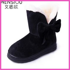 62f3fa830 2017 new fashion style female footwear solid color women winter snow boots  bowtie woman warm boot