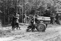 "1944, France, Des artilleurs allemands déplacent un ""Nebelwerfer 42"" | by ww2gallery"