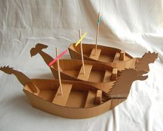 Cardboard ships (with templates!) from ikatbag.com