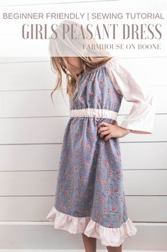 This simple peasant dress pattern for girls is a great sewing project for beginners. Very customizable sewing project, can be used as a toddler dress pattern up to girls size 10/12. The step by step video tutorial walks you through the entire process. #farmhouseonboone #peasantdress #sewing #diydress #GiftIdeas