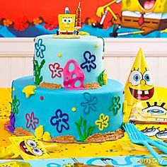 Bikini Bottom birthday! Click for the step-by-step how-to for creating this awesome SpongeBob Cake!
