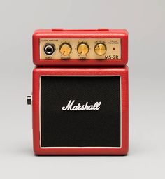 Micro Amp MS-2R Red by Marshall. featuring channel switching, a battery and a headphone jack. This red micro amp look so fun, it has a belt clip, so you can rock on the move. Clean and Overdrive, it has volume and tone control. http://www.zocko.com/z/JJC3b