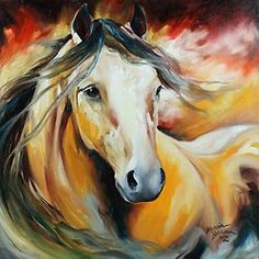 """BUCKSKIN WILD"" by Marcia Baldwin, Shreveport, Louisiana // Fine art print from an original oil painting by equine artist, Marcia Baldwin. Abstract Canvas, Canvas Wall Art, Big Canvas, Canvas Prints, Arte Equina, Horse Canvas Painting, Abstract Pictures, Canvas Pictures, Horse Artwork"