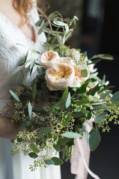 garden rose and eucalyptus bouquet