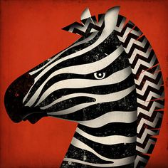 Striped Zebra original illustration giclee archival signed artists print 12 x 12  by fowler creative arts. $32.00, via Etsy.