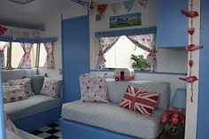 Polly Dolly Vintage: My Vintage Caravan - lots of throw pillows...