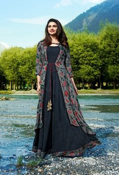 Buy Classy Gray Colored Partywear Printed Satin-Crepe Jacket Style Long Kurti at Rs. Get latest Partywear kurti for womens at Peachmode. Frock Fashion, Indian Fashion Dresses, Indian Gowns Dresses, Dress Indian Style, Indian Designer Outfits, Designer Dresses, Designer Kurtis, Jacket Style Kurti, Kurti With Jacket