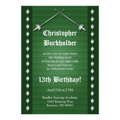 Green Fencing Birthday Party Invitation