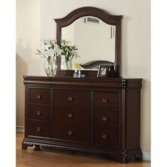 Bedroom Furniture Dresser Mirror With 9 Drawers