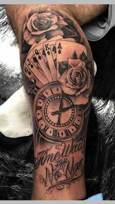 Com bicep tattoo women, inner bicep tattoo, money rose tattoo, casino Card Tattoo Designs, Tattoo Sleeve Designs, Tattoo Designs Men, Inner Forearm Tattoo, Arm Tattoos For Guys, Forearm Tattoo Men, Mens Leg Tattoo, Forarm Tattoos, Body Art Tattoos