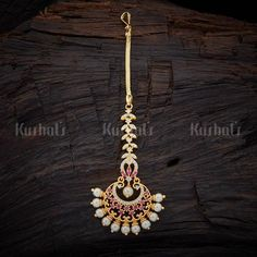 Designer zircon maang tikka studded with ruby zircon stones, white pearls and plated with gold polish Tika Jewelry, Head Jewelry, Indian Jewelry, Bridal Jewelry, Bridal Shoes, Wedding Accessories, Jewelry Accessories, Tikka Designs, Pendant Design