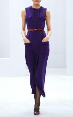 Purple Wool Dress by Barbara Casasola for Preorder on Moda Operandi