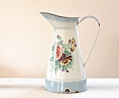 Large French Enamelware Jug by BeyondTheBrocante on Etsy