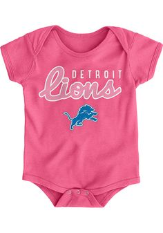 Detroit Lions Baby Pink Big Game Short Sleeve One Piece - Image 1 Detroit Lions Hat, Detroit Lions T Shirts, Lion Hat, Detroit History, One Piece Images, Detroit Michigan, Big Game, Rompers, Creeper