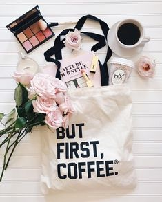 But first, coffee. Flat Lay. With a bit of blush and fresh pink rose bouquet #butfirstCoffee