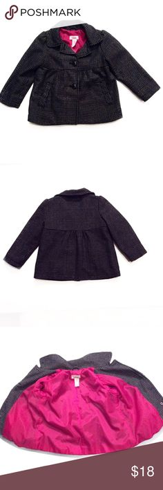 Circo Black and White Girls Jacket Size 4T Circo Black and White Girls Jacket Size 4T. Material: Shell is 61% Polyester, 22% Wool, 10% Acrylic, 4% Other Fibers and 3% Rayon. Dark Pink lining is 100% Polyester. Machine Wash Cold. 🚫 No Trades🚫 Circo Jackets & Coats