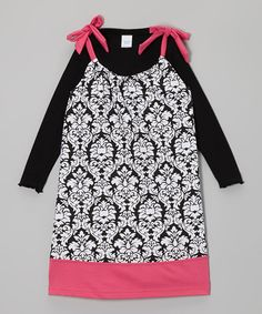 Take a look at this Black & Fuchsia Damask Knot Dress & Tee - Toddler & Girls on zulily today!