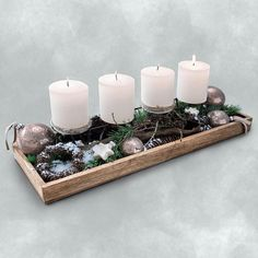 Rectangular tray, W: 18 x L: natural. Christmas Time, Christmas Crafts, Christmas Decorations, Xmas, Table Decorations, Advent Wreath, Diy Wreath, Wreaths, Diy Weihnachten