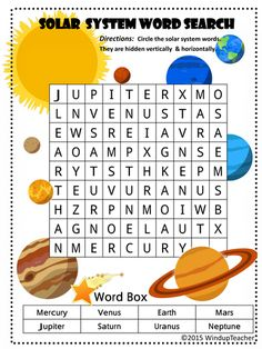 Easier: Words are hidden vertically and horizontally only. Harder: The 8 planets in our Solar System are hiding in this puzzle in any directio...