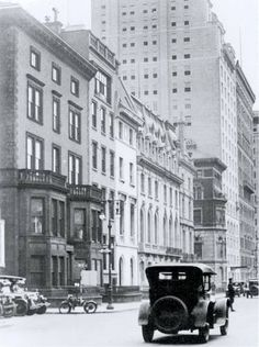 Mrs. William W. Sherman's townhouse at 838 Fifth Avenue (Far Left) stands imposingly along with other surviving private residences along Fifth Avenue, battling against massive commercial invasion. To the far right stands the Edwardian/Georgian townhouse of Miss Julia Berwind, the only home in this picture still standing. Circa 1940's.