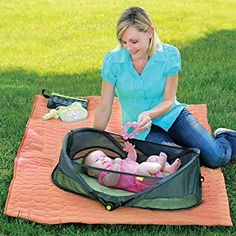 BRICA Fold N' Go Travel Bassinet this baby camping bed will put your little one to sleep