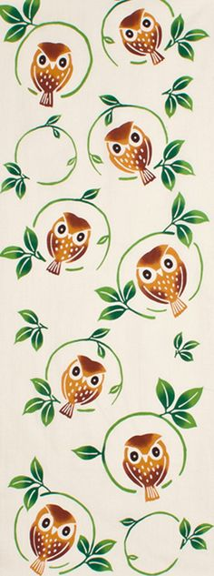 Japanese Tenugui cotton towel fabric. Bird pattern / kawaii owl + twig design. High quality tenugui fabrics made of soft 100% cotton cloth and hand dyed by Japanese master dyers. [ H o w T o U s e ] * towel * washcloth * dishcloth * headband / bandanna * scarf * wall hanging (like a painting or textile) * wrapping * place mat * table runner / center piece * book jacket, and... MORE! Enjoy your own unique way! [ M a t e r i a l ] Cotton 100% [ D i m e n s i o n s ] 33 × 90cm ...