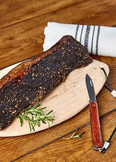 Spoil the man in your life with the gift that keeps giving - a biltong board with attached cutting knife. Compact and handy to take on those off-road adventures with the boys. Biltong, Off Road Adventure, Butcher Block Cutting Board, Compact, Dining, Boys, Gifts, Baby Boys, Food