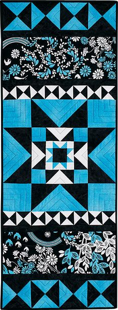 Art director Megan Frank designed this modern style table runner in turquoise and black. Find Blue Diamonds in Love of Quilting Mar/Apr '12.