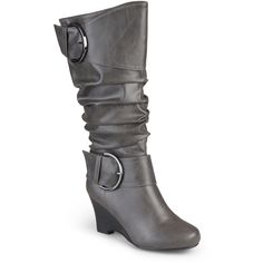 Journee Collection Meme Wedge Womens Boots ($87) ❤ liked on Polyvore