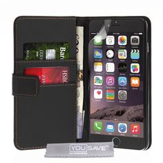 "Yousave Accessories iPhone 6S Plus Case Black PU Leather Wallet Cover. iPhone 6S Plus Cases: PU Leather Phone Case To Fit The iPhone 6S Plus. Clear Screen Protector & Soft Micro Fibre Polishing Cloth. Magnetic Closing Wallet Case Protects From Scratches And Dents. Tough PU Leather Cover With Card / Money Slots Offering Your Mobile Extra Protection. Apple iPhone 6S Plus Accessories (5.5"" 2015 Model)."