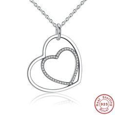 Cuore a cuore collana con pendente romantico con lucidi CZ chiari 100% argento sterling 925 Per donne con stile e charm SN003 di OceanBijoux su Etsy