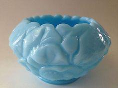 Fenton Blue Milk Glass Rose Pattern Bowl