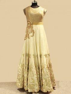 Cream Silk Evening Gown With Handwork (Free Size)