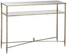 glass and gold leaf console table.
