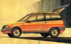 OG | 1985 Autobianchi / Lancia Y10 | Design design sketch by Antonio Piovano dated 1981
