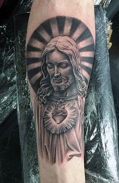 Tattoos for men Jesus Tattoo, Christ Tattoo, Tattoos For Guys, Cool Tattoos, Tatoos, Religious Tattoo Sleeves, Half Sleeve Tattoos Forearm, Catholic Tattoos, Irezumi