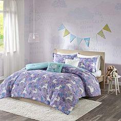 Urban Habitat Kids Lola Full/Queen Bedding for Girls Quilt Set - Purple, Aqua, Unicorns – 5 Piece Kids Girls Quilts – Cotton Quilt Sets Coverlet
