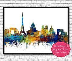 Paris 2 Watercolor Print City Skyline Paris France by ArtsPrint